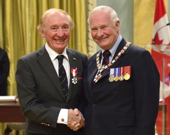 Les McDonald (left) receiving the Order of Canada from Governor General David Johnston
