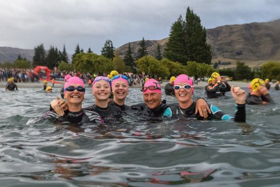 Competitors look on prior to the start of the 2018 Challenge Wanaka